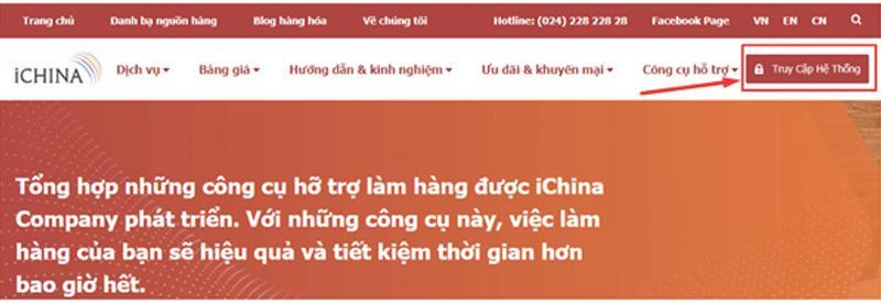 Click tạo tài khoản đăng nhập trên iChina Company để quản lý đơn hàng